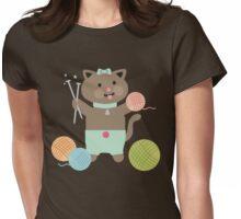 Cute kawaii kitty cat knitting needles yarn Womens Fitted T-Shirt