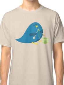 Cute knitting needles ball of yarn blue bird Classic T-Shirt