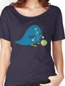 Cute knitting needles ball of yarn blue bird Women's Relaxed Fit T-Shirt