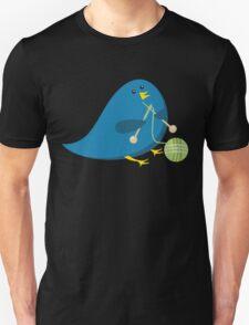 Cute knitting needles ball of yarn blue bird Unisex T-Shirt