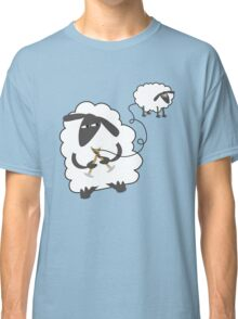 Funny sheep knitting stealing wool yarn Classic T-Shirt