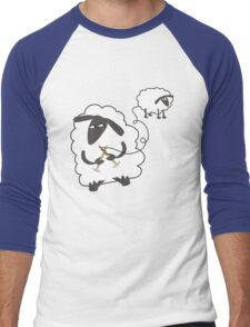 Funny sheep knitting stealing wool yarn Men's Baseball ¾ T-Shirt