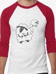 Funny sheep knitting stealing wool yarn Men's Baseball ¾ T-Shirt