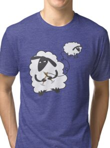 Funny sheep knitting stealing wool yarn Tri-blend T-Shirt