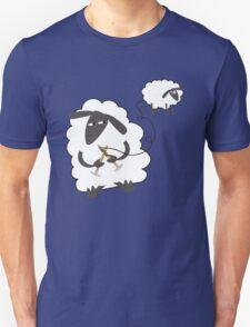 Funny sheep knitting stealing wool yarn Unisex T-Shirt