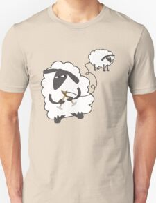 Funny sheep knitting stealing wool yarn T-Shirt