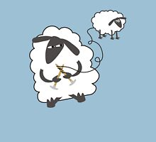 Funny sheep knitting stealing wool yarn Womens T-Shirt