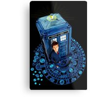 Time traveller at Arch of time Zone Metal Print