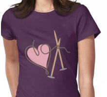 Love knitting needles heart yarn Womens Fitted T-Shirt