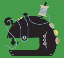 Groovy mod sci-fi sewing machine black Kids Tee