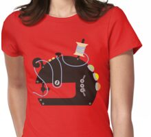 Groovy mod sci-fi sewing machine black Womens Fitted T-Shirt