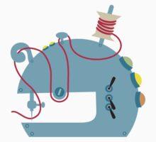Groovy mod sci-fi sewing machine blue Kids Tee