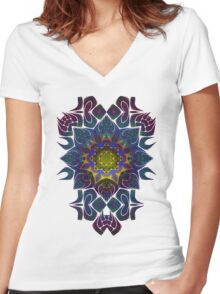 Psychedelic Fractal Manipulation Pattern on White Women's Fitted V-Neck T-Shirt