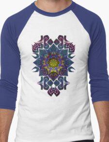 Psychedelic Fractal Manipulation Pattern on White Men's Baseball ¾ T-Shirt