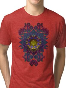 Psychedelic Fractal Manipulation Pattern on White Tri-blend T-Shirt