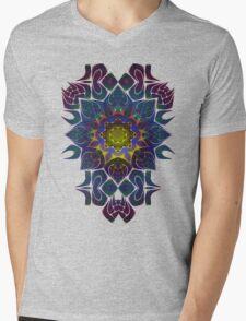 Psychedelic Fractal Manipulation Pattern on White Mens V-Neck T-Shirt