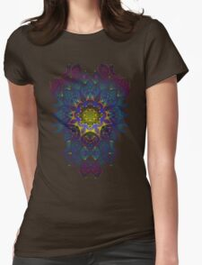 Psychedelic Fractal Manipulation Pattern on White Womens Fitted T-Shirt