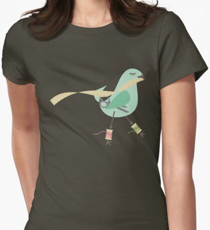 Seamstress bird sewing measuring tape blue Womens Fitted T-Shirt