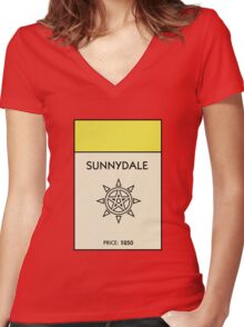 Sunnydale Monopoly (Buffy the Vampire Slayer) Women's Fitted V-Neck T-Shirt