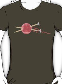 Pink ball of yarn with knitting needles T-Shirt