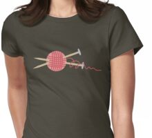 Pink ball of yarn with knitting needles Womens Fitted T-Shirt