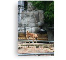 Temple Dog with Buddha Canvas Print