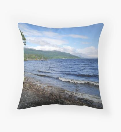 Loch Ness Shoreline Throw Pillow