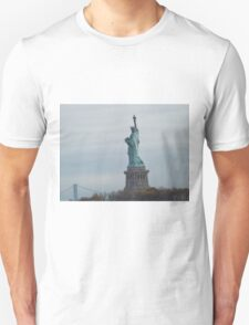 Historic Statue of Liberty, Liberty Island, View from Liberty State Park, New Jersey  T-Shirt