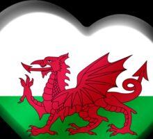 Wales - Welsh Flag Heart & Text - Metallic Sticker