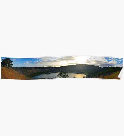 Valley Lake in Autumn Panorama Poster