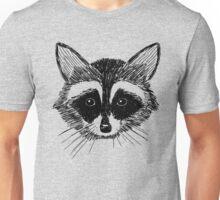 Raccoon Face on Grey Unisex T-Shirt