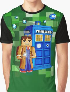 8bit blue phone box with space and time traveller Graphic T-Shirt