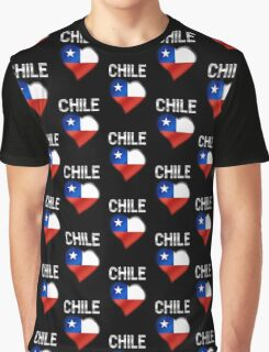 Chile - Chilean Flag Heart & Text - Metallic Graphic T-Shirt