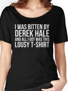 I was bitten by Derek Hale... - black text Women's Relaxed Fit T-Shirt