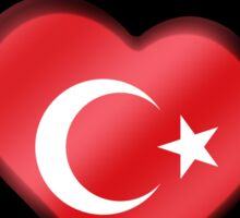 Turkey - Turkish Flag Heart & Text - Metallic Sticker