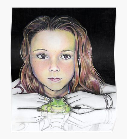 Kiki and the frog - colourised Poster