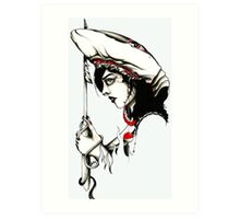 Woman with a Sharks Cowl Art Print
