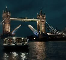 Tower Bridge and River Boat by Karen Martin