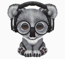 Cute Baby Koala Bear Dj Wearing Headphones  One Piece - Long Sleeve
