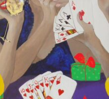 Christmas Lady Card Players Sticker
