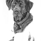 Black labrador dog portrait by artbykarie-ann