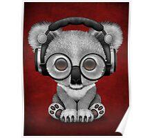 Cute Baby Koala Bear Dj Wearing Headphones on Red Poster