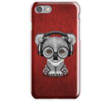 Cute Baby Koala Bear Dj Wearing Headphones on Red iPhone Case/Skin