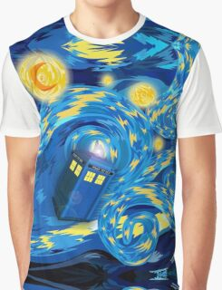 Space and time traveller phone box Starry the night Cartoons Graphic T-Shirt