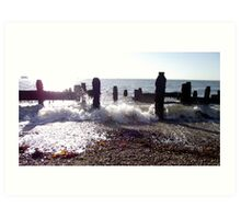 Waves Beating The Shore Art Print