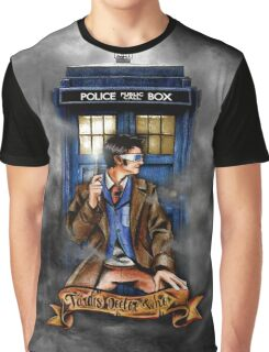 Mysterious Time traveller with blue Phone box Graphic T-Shirt