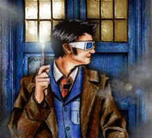 Mysterious Time traveller with blue Phone box Sticker