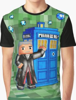 8bit 12th Doctor with blue phone box Graphic T-Shirt