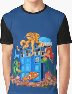 Blue Phone Booth Under the sea Graphic T-Shirt