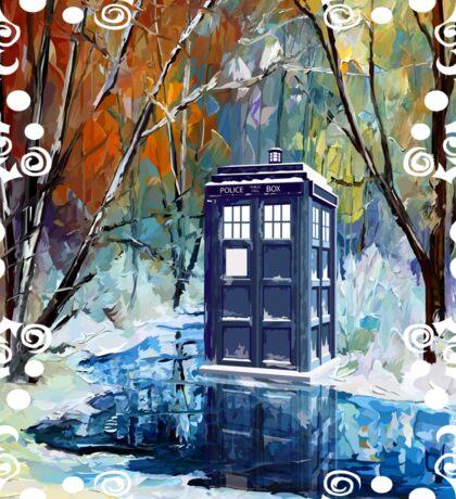Snowy Blue phone box at winter zone Sticker